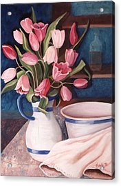 Acrylic Print featuring the painting Pink Tulips by Renate Nadi Wesley
