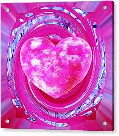 Pink Valentine Heart Acrylic Print by rd Erickson