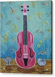 Pink Violin With Fireflies And Shells Still Life Acrylic Print by John Keaton