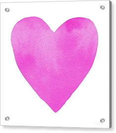 Pink Watercolor Heart- Art By Linda Woods Acrylic Print by Linda Woods