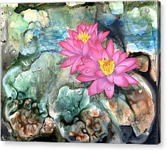 Acrylic Print featuring the painting Pink Waterlily by Sherry Shipley