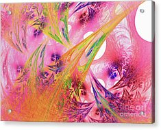 Acrylic Print featuring the digital art Pink Web by Deborah Benoit