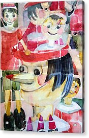 Pinocchios In The Window Reflections Acrylic Print by Mindy Newman
