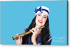 Pinup Sailor Girl Holding Telescope Acrylic Print