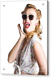 Pinup Shouting Out Loud Acrylic Print by Jorgo Photography - Wall Art Gallery