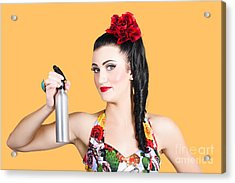 Pinup Woman Holding A Cleaning Spray Bottle Acrylic Print by Jorgo Photography - Wall Art Gallery
