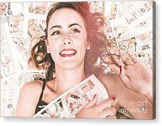 Pinup Woman With Cartoon Character Love Acrylic Print