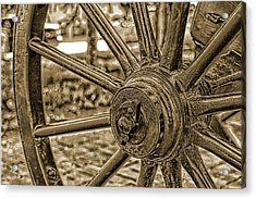 Acrylic Print featuring the photograph Pioneer Wagon Wheel by Marie Leslie
