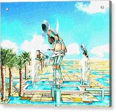 Pipe Human Figures Creating On Oasis Number One Acrylic Print by Leo Malboeuf