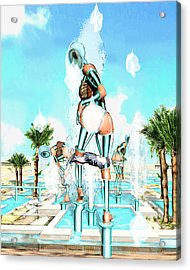 Pipe Human Figures Creating On Oasis Number Two Acrylic Print by Leo Malboeuf