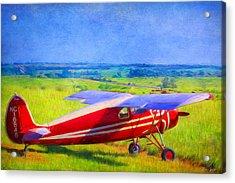 Piper Cub Airplane In Kansas Prairie Acrylic Print
