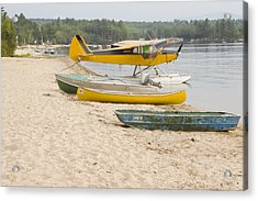 Piper Super Cub Floatplane Near Pond In Maine Canvas Poster Print Acrylic Print