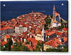Piran From The Castle Wall Acrylic Print by Graham Hawcroft pixsellpix