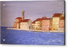 Piran The Lighthouse Acrylic Print by Anthony Meton