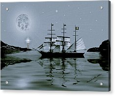 Pirate Cove By Night Acrylic Print by Madeline  Allen - SmudgeArt