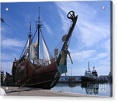 Acrylic Print featuring the photograph Pirate Ship - Sousse Harbour by Maciek Froncisz