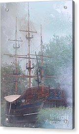 Pirate Ship Hiding In Cove Acrylic Print