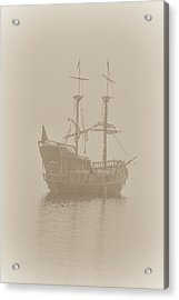 Pirate Ship In Sepia Acrylic Print by Joy McAdams