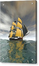 Pirate Ship On The High Seas Acrylic Print by Carol and Mike Werner