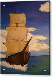 Pirate Ship With Gulls Acrylic Print by Vickie Roche
