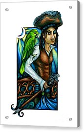 Pirate With Parrot Art Acrylic Print