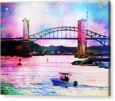 Piscataqua River Bridge From Harborwalk Park, Portsmouth New Hampshire Acrylic Print