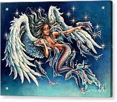 Pisces Angel Acrylic Print by Christine Karron