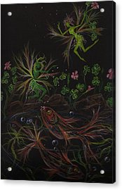 Acrylic Print featuring the drawing Pisces by Dawn Fairies