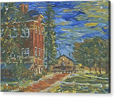 Acrylic Print featuring the painting Piskor Hall On An August Evening by Denny Morreale