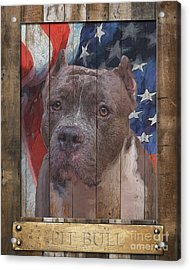Pit Bull Flag Poster Acrylic Print by Tim Wemple