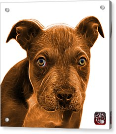 Acrylic Print featuring the painting Pitbull Puppy Pop Art - 7085 Wb by James Ahn