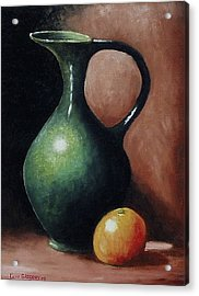 Acrylic Print featuring the painting Pitcher And Orange by Gene Gregory