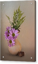 Pitcher With Daisies Acrylic Print by Tom Mc Nemar