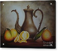 Pitcher With Oranges Acrylic Print