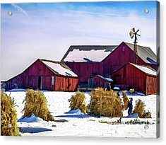 Pitchin Hay Acrylic Print by Robert Gardner