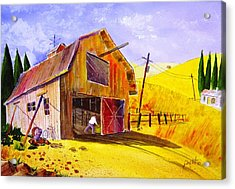 Pitching Hay Acrylic Print by Buster Dight