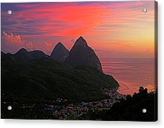 Pitons At Sunset- St Lucia Acrylic Print by Chester Williams