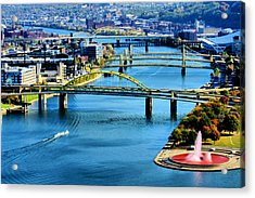 Pittsburgh At The Point Acrylic Print by Michelle Joseph-Long