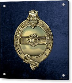 Pittsburgh Bureau Of Police -  P B P  Chief Badge Over Blue Velvet Acrylic Print