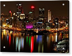 Pittsburgh Christmas At Night Acrylic Print by Jay Nodianos