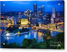 Pittsburgh Downtown Night Scenic View Acrylic Print