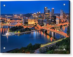 Pittsburgh Evening Glow Acrylic Print by Adam Jewell