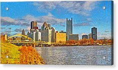 Acrylic Print featuring the digital art Pittsburgh From The Shore Of The Ohio River by Digital Photographic Arts