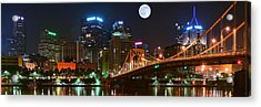 Pittsburgh Full Moon Panoramic Acrylic Print