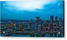 Pittsburgh In Hdr Acrylic Print by Kayla Yankovic
