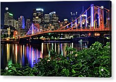Pittsburgh Lights Bridge And Foliage Acrylic Print