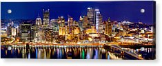 Pittsburgh Pennsylvania Skyline At Night Panorama Acrylic Print