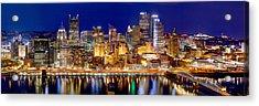Pittsburgh Pennsylvania Skyline At Night Panorama Acrylic Print by Jon Holiday