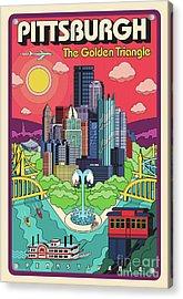 Pittsburgh Pop Art Travel Poster Acrylic Print by Jim Zahniser