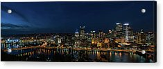 Pittsburgh Skyline At Dusk Panoramic  Acrylic Print by Terry DeLuco